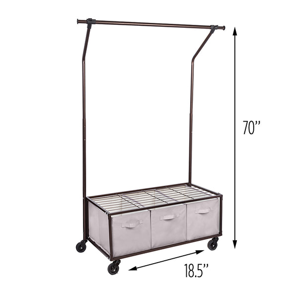 Bronze-Coated Rolling Clothes Rack with Shelves and Bins