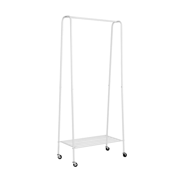 Matte White Metal Rolling Clothes Rack with Shelf