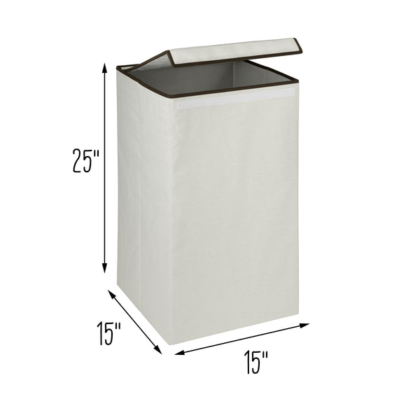 Square Collapsible Laundry Hamper with Lid, Natural