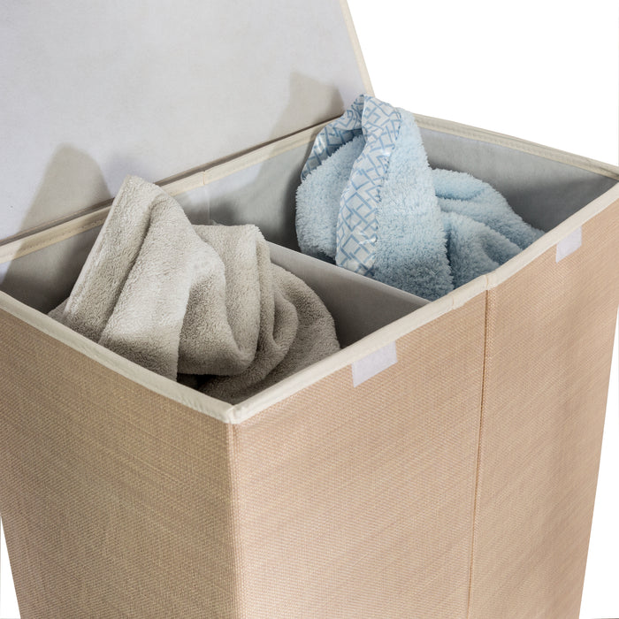 Large Dual Laundry Hamper with Lid, Natural Resin
