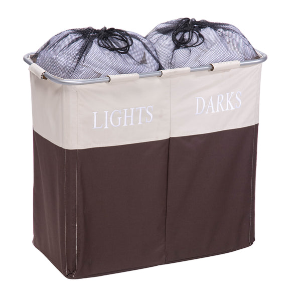 Dual Compartment Laundry Hamper, Brown/Taupe