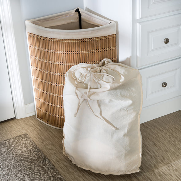 Wicker Corner Hamper with Laundry Bag, Bamboo