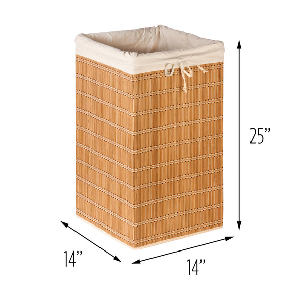 Square Wicker Bamboo Hamper with Bag
