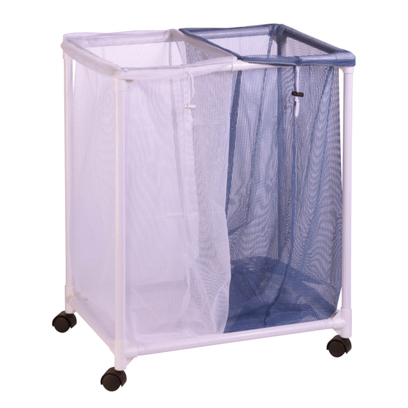 2-Bag Mesh Rolling Hamper, White / Blue