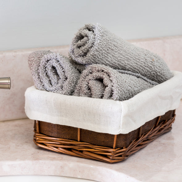 7-Piece Wicker Hamper and Bath Combo Set, Chocolate Brown