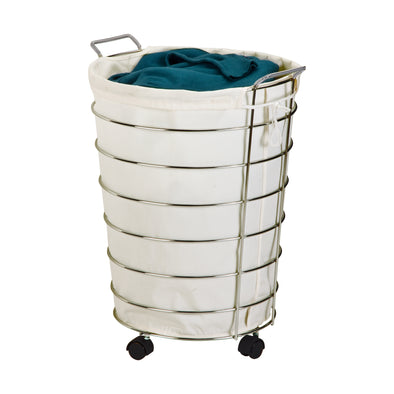Rolling Hamper with Removable Laundry Bag, Chrome