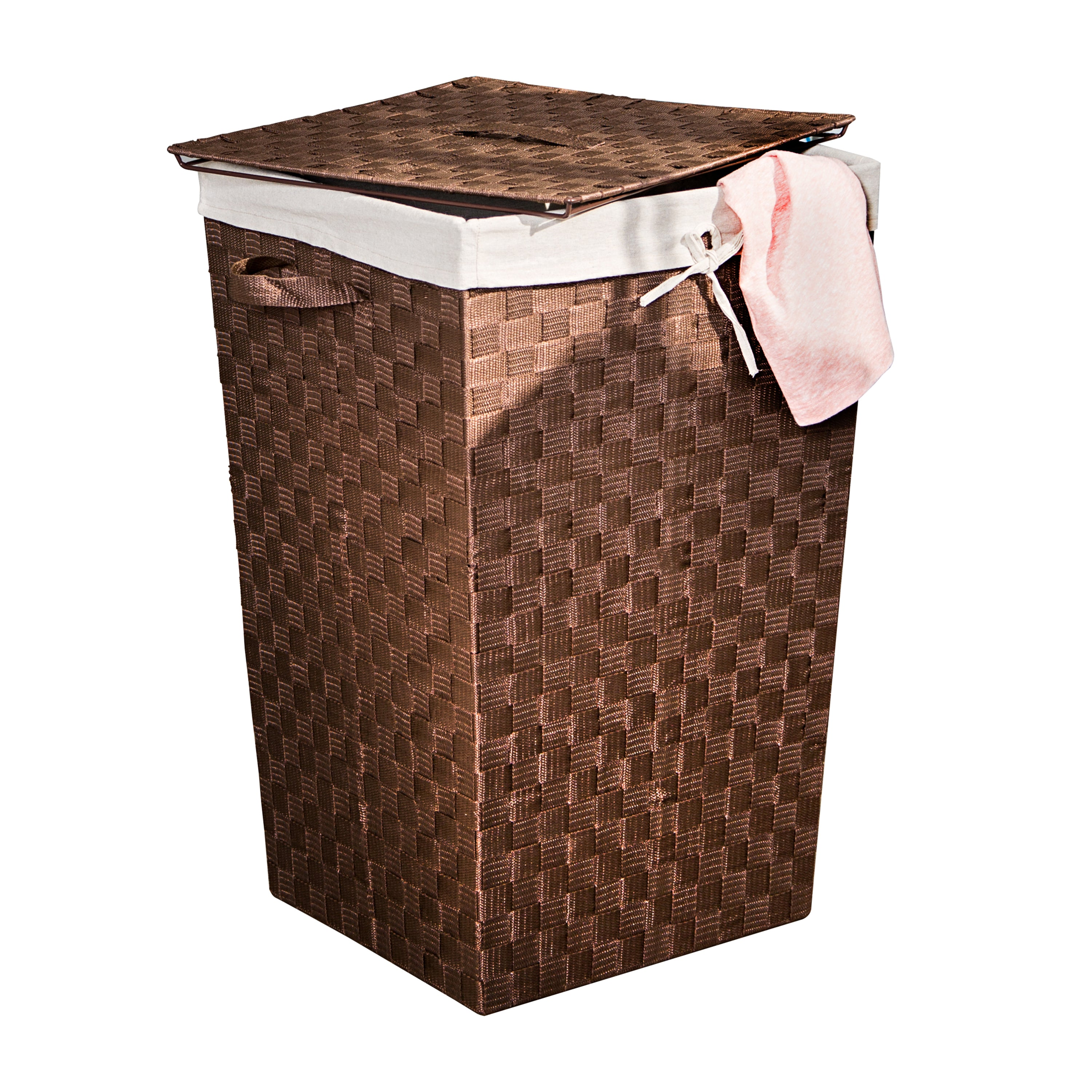 Decorative Woven Hamper With Lid Java Brown