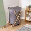 Bamboo & Canvas Hamper, Grey