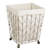 Coastal Collection Wire Laundry Hamper w/Canvas Liner & Wheels, Bronze