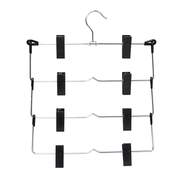 4-Tier Pant or Skirt Hanger, Chrome & Black