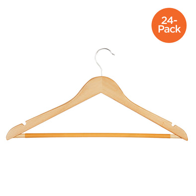 24-Pack Wood No Slip Coat Hangers, Maple