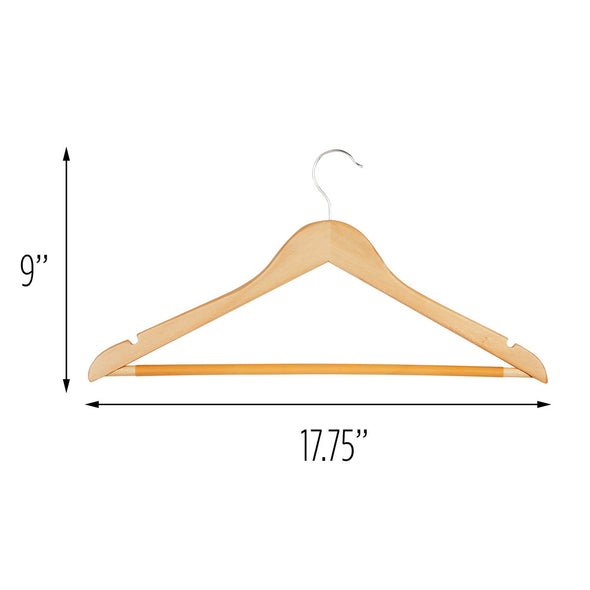 10-Pack Wood Hangers with Pants Bar, Maple