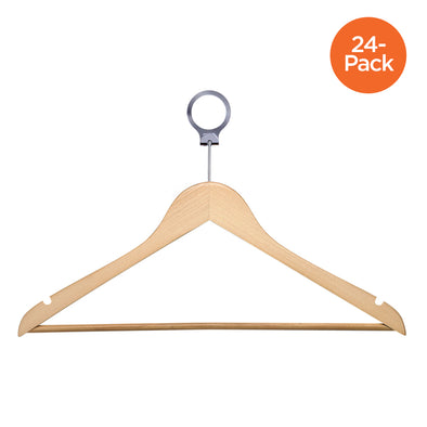 24-Pack Hotel Suit Hangers, Maple