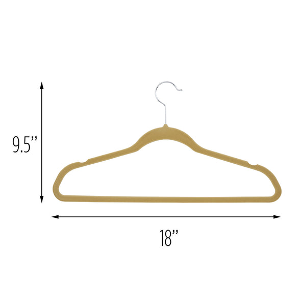 50-Pack Flocked Suit Hanger, Tan