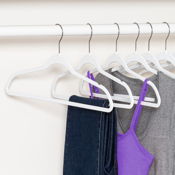 Rubber Space-Saving Hangers, White