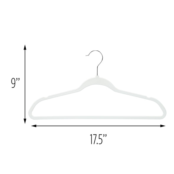 50-Pack Rubber Space-Saving Hangers, White