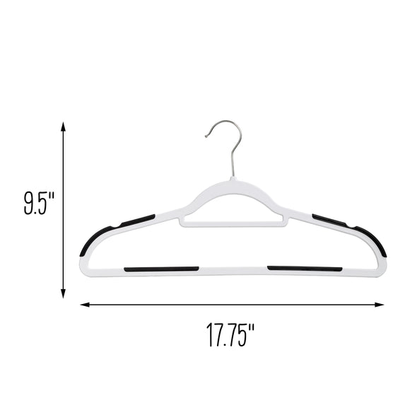 Slim Plastic Hangers with Anti-Slip Rubber Grips, White