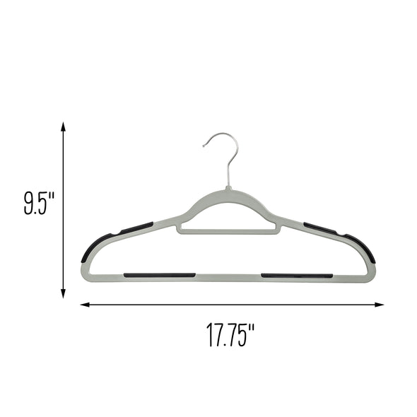 50-Pack Slim Plastic Hangers with Anti-Slip Rubber Grips, Gray