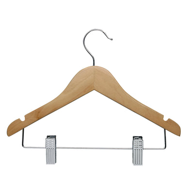10-Pack Kids Hanger with Clips, Maple