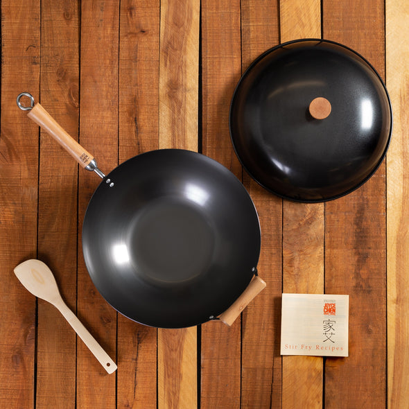 Joyce Chen Classic Series Carbon Steel Nonstick Wok Set with Lid and Birch Handles, 4 Pieces