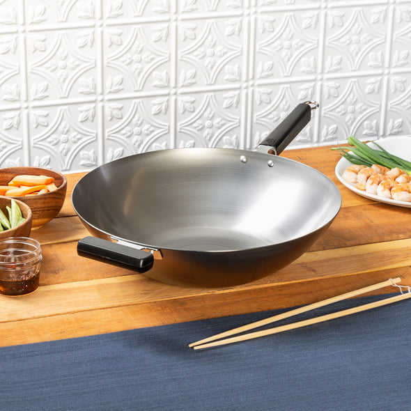Joyce Chen Professional Series 14-Inch Carbon Steel Wok with Phenolic Handles