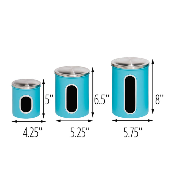 3-Piece Steel Canister Set, Blue