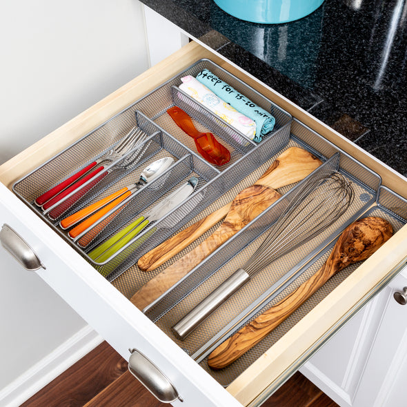 Expandable Steel Mesh Silverware & Desk Drawer Organizer