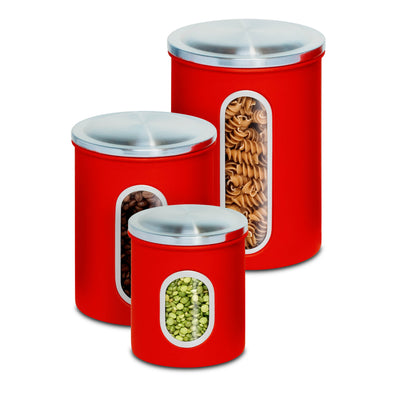 3-Piece Steel Canister Set, Red