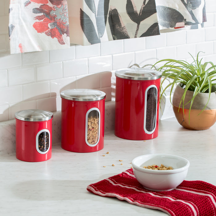 Steel Canister Set - 3pc Red