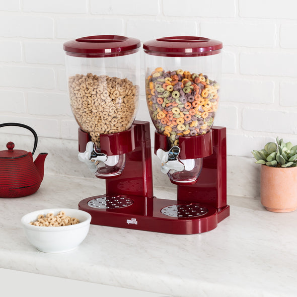 Double Dry Food & Cereal Dispenser with Portion Control, Red and Chrome