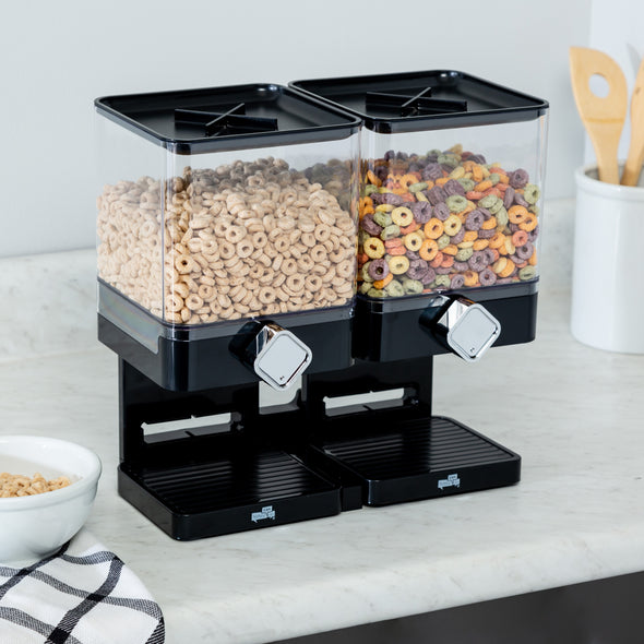 Compact Double Cereal Dispenser with Portion Control, Black