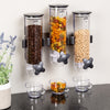 Wall Mount Triple Canister Cereal Dispenser, Black & Clear