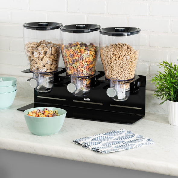 Triple Canister Commercial Cereal Dispenser, Black