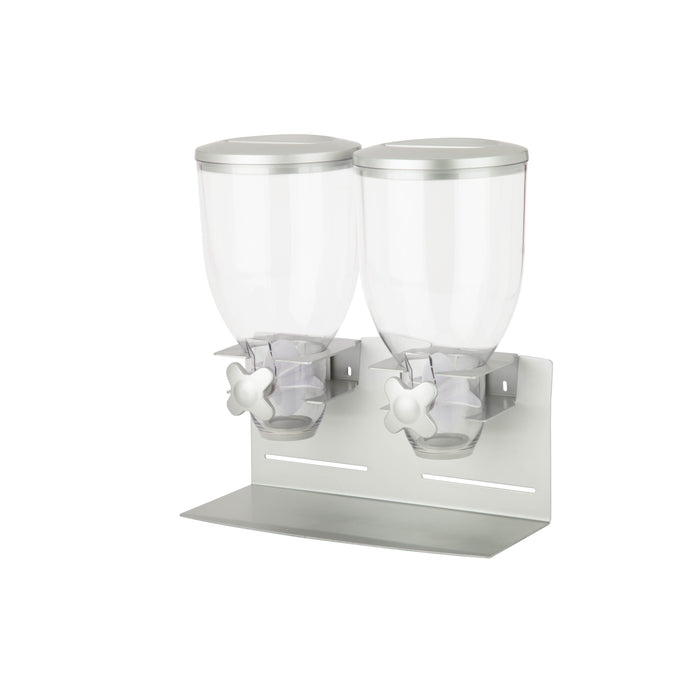 Double Cereal Dispenser, Silver and Stainless Steel
