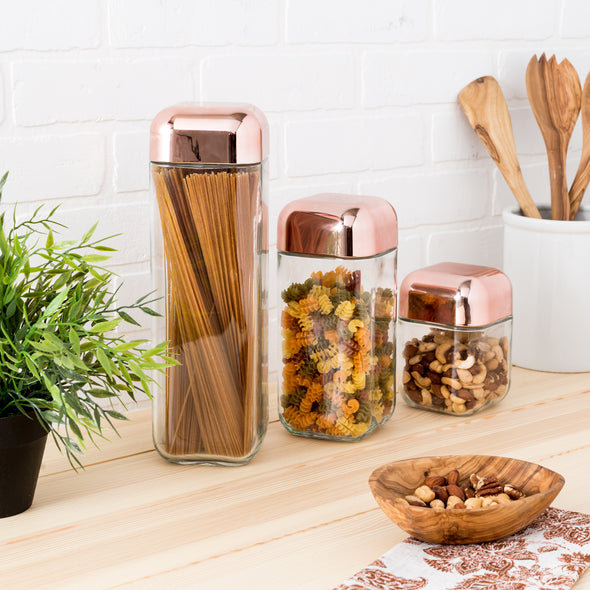 3-Piece Glass Jar Storage Set, Copper Lids