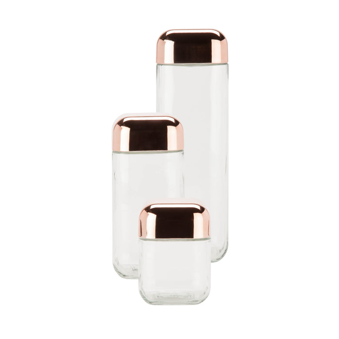 3-Piece Glass Jar Storage Set, Copper Lids - honeycando.com