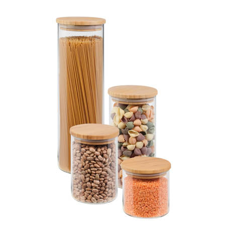 4 pcs Jar Storage Set, bamboo