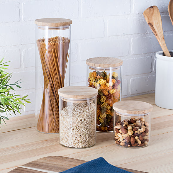 4-Piece Glass Jar Storage Set, Bamboo Lids