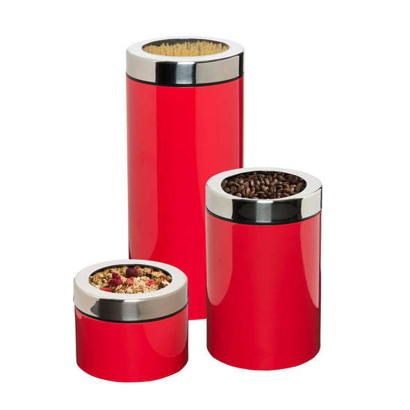 3-Piece Retro Kitchen Canisters, Red