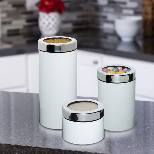 3-Piece Retro Kitchen Canisters, White