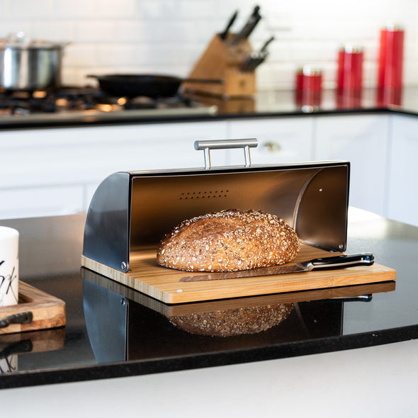 Stainless Steel Bread Box with Bamboo Cutting Board