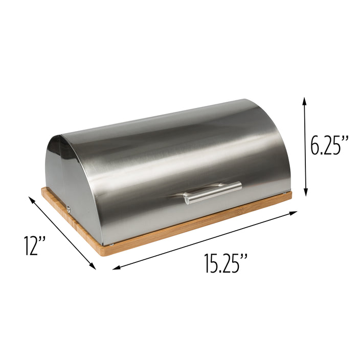 Stainless Steel Breadbox with Bamboo Cutting Board
