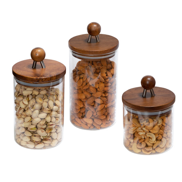 3-Piece Acacia Top Glass Kitchen Canister Set