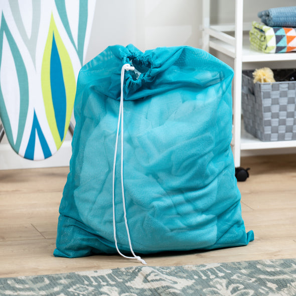 Mesh Laundry Bag with Drawstring, Blue