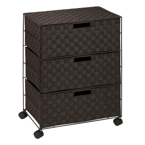 3-Drawer Wheeled Chest, Espresso