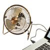 6-Inch USB-Powered Portable Desk Fan, Bronze