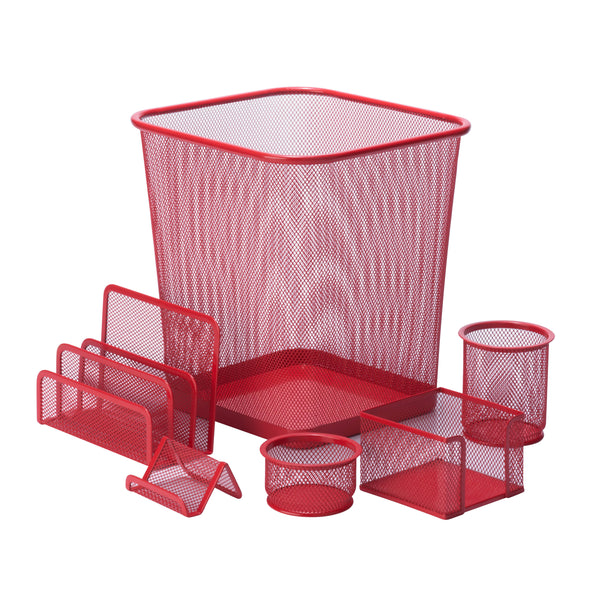 6-Piece Mesh Desk Set, Red