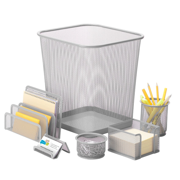 6-Piece Mesh Desk Set, Silver