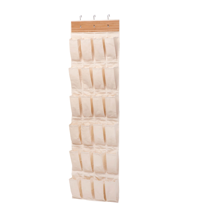24-Pocket Over-The-Door Hanging Shoe Organizer, Bamboo & Canvas