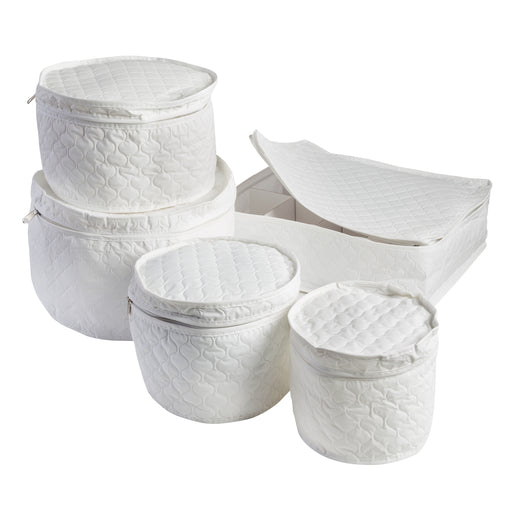 5-Piece Dinnerware Storage Set, White